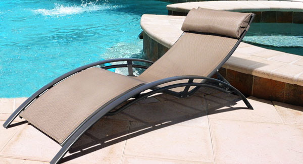 Superieur Sun Lounge Chair With Mocha Textilene Material And Chocolate Aluminium Frame