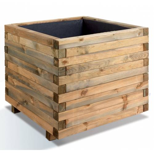 Jardinera cuadrada de madera stockholm 100 venta for Jardineras de madera grandes