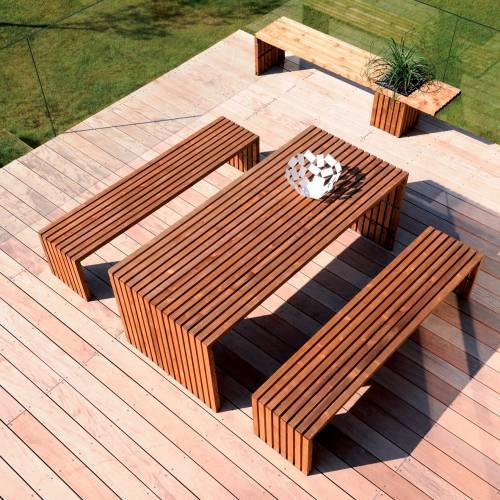Mesa y bancos de jard n de madera karel venta mesa y for Mesa y banco de jardin